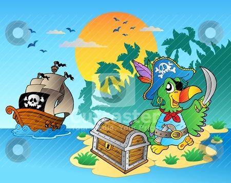 Pirate parrot and chest on island stock vector clipart, Pirate parrot and chest on island - vector illustration. by Klara Viskova