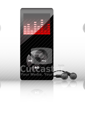 Vector mp3 player stock vector clipart, Vector black mp3 player with earphones on white background by Vladimir Gladcov