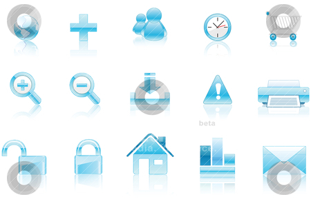 Aqua Icons stock vector clipart, Collection of vectorial icons aqua style ready to be used. by Bagiuiani Kostas