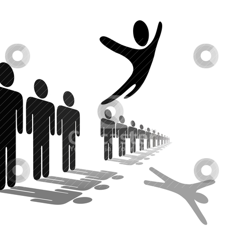 Symbol Person Leaps Out of Line Soars Above People stock vector clipart, A symbol person out from the crowd and flies above a line of people. Jump for joy, escape, or celebration. by Michael Brown