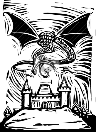 Dragon over Castle stock vector clipart, Woodcut Dragon shoots fire to burn down a castle by Jeffrey Thompson