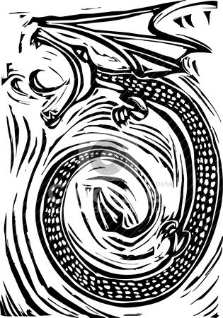 Woodcut Dragon stock vector clipart, Rough woodcut image of a dragon breathing fire . by Jeffrey Thompson