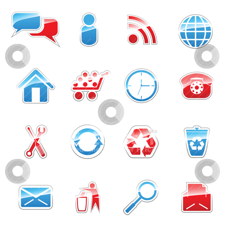 Web icon set stock vector clipart, Set of vector icons for web design by Vladimir Gladcov