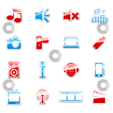 Label icons stock vector clipart, Label icon set for web design (set 1) by Vladimir Gladcov