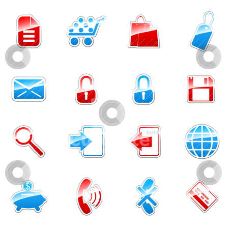 Label icons stock vector clipart, Label icon set for web design (set 4) by Vladimir Gladcov