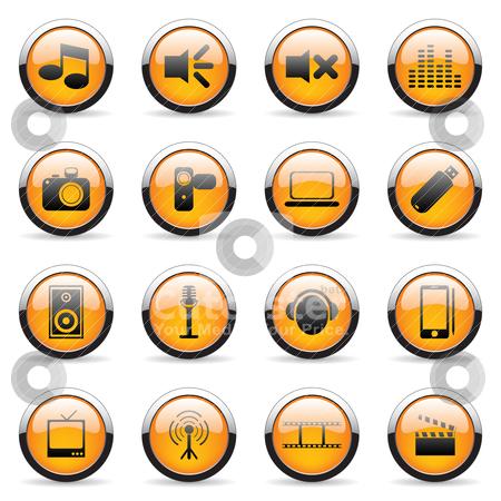 Web icons stock vector clipart, Set of web orange icons (set2) by Vladimir Gladcov