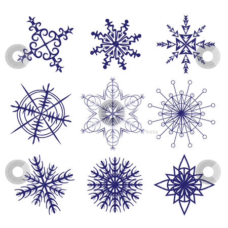 Set of different snowflakes stock vector clipart, set of different snowflakes isolated on white by SelenaMay