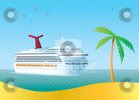 Cruise Ship stock vector clipart, Illustration of a Cruise Ship coming in to a tropical destination. by Jamie Slavy