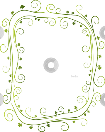Swirly Shamrock Border stock vector clipart, A swirly green St. Patrick's Day border with shamrocks. by Jamie Slavy