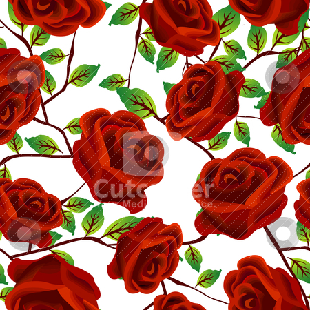 Roses over white, pattern stock vector clipart, Seamless background design with stylized red roses isolated over white background by Richard Laschon