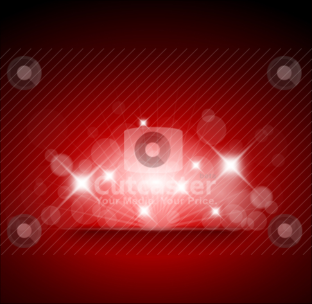 Red background with white lights stock vector clipart, Red background with white lights and place for your text by orson