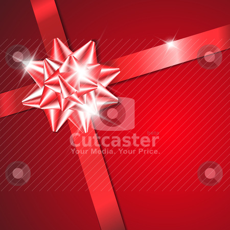 Red bow on a red ribbon with red background  stock vector clipart, Red bow on a red ribbon with red background - vector Valentines card (no text) by orson