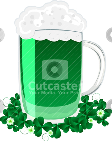 Green beer stock vector clipart, Green beer mug and clover leaves for the feast of St. Patrick by Richard Laschon