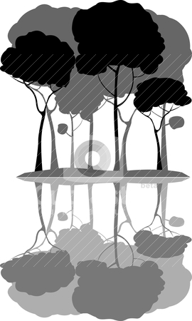 Trees stock vector clipart, trees with white background by Richard Laschon