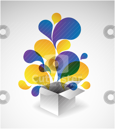 Exploding gift box stock vector clipart, Exploding gift box - Abstract illustration full of colors by orson