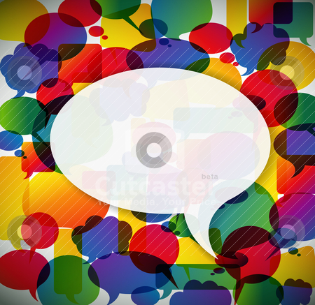 Colorful background made from speech bubbles  stock vector clipart, Colorful background made from speech bubbles with one big in the front  by orson