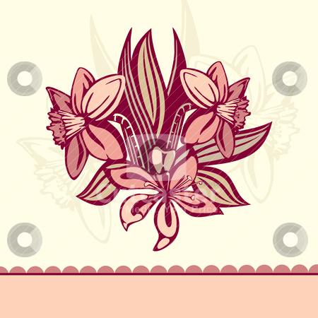 Retro card with flowers stock vector clipart, vector retro card with flowers by SelenaMay