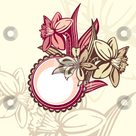 Retro floral frame stock vector clipart, retro floral frame, vector illustration by SelenaMay