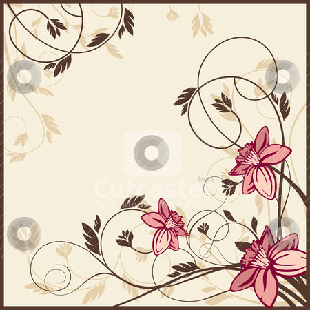 Retro floral card stock vector clipart, retro floral card, vector illustration by SelenaMay