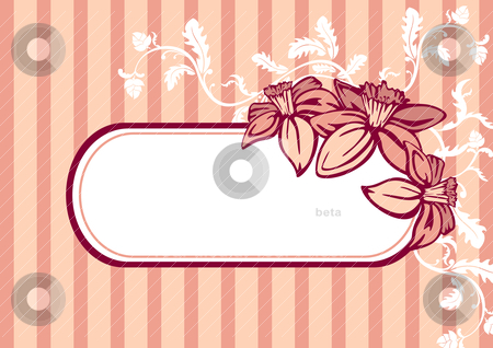 Vector retro frame stock vector clipart, vector retro frame with flowers by SelenaMay