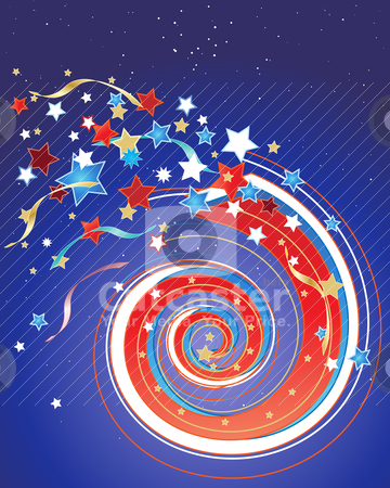 July fourth fireworks stock vector clipart, an illustration of a july fourth firework in a night sky with stars and streamers by Mike Smith