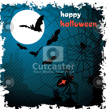 Halloween vector illustration scene stock vector clipart, Halloween vector illustration scene with moon, spider, bat and tree. by SelenaMay