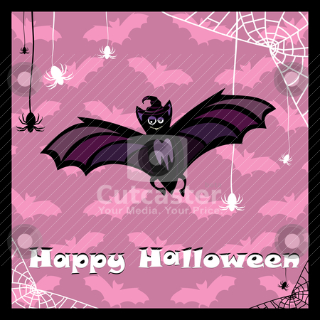 Greeting card with cute bat stock vector clipart, greeting card with cute halloween bat by SelenaMay