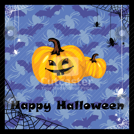 Greeting halloween card stock vector clipart, greeting card with halloween pumpkin by SelenaMay