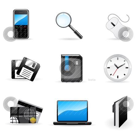 Office and business icons stock vector clipart,  by Vladimir Gladcov