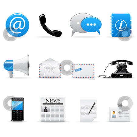 Internet communication icons stock vector clipart, Vector set of web and communication icons  by Vladimir Gladcov