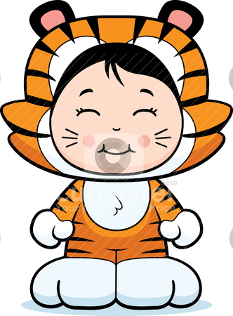 Girl Tiger stock vector clipart, A happy cartoon girl in a tiger costume. by cthoman