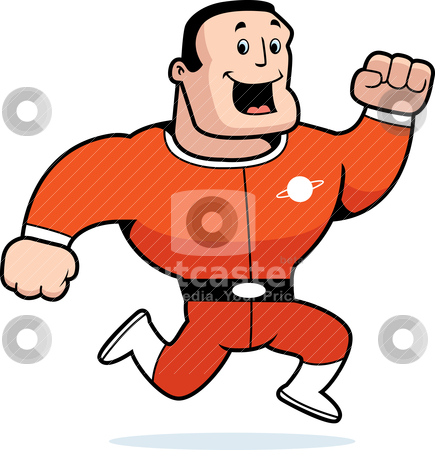 Astronaut Running stock vector clipart, A happy cartoon astronaut running and smiling. by cthoman