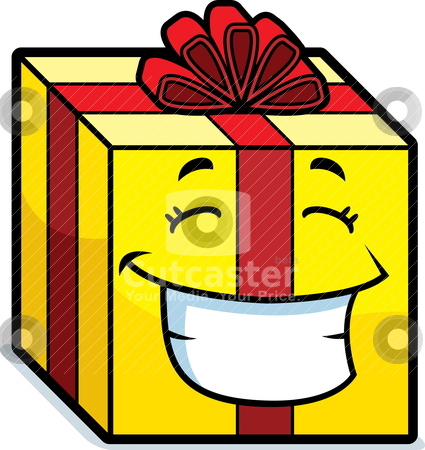 Gift Smiling stock vector clipart, A cartoon wrapped gift smiling and happy. by cthoman