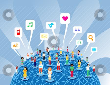 Global social media network stock vector clipart, Social media network connection concept by Cienpies Design