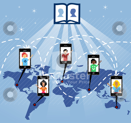 The god of social network stock vector clipart, The mobile phone connects people worldwide through the social network, vector available. by Cienpies Design