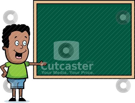 Student Chalkboard stock vector clipart, A cartoon student standing at the chalkboard. by cthoman