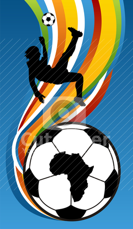 Soccer Player Illustration about to kick the football stock vector clipart, One soccer players about to kick the football with Africa Map over a soccer ball on the bottom. Multicolored banded background. by Cienpies Design