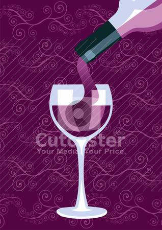 Wine bottle and glass composition background stock vector clipart, Restaurant icon. Wine bottle serving a glass silhouettes on purple background. Vector available. by Cienpies Design