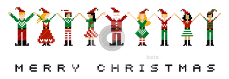Merry Xmas celebration stock vector clipart, A group of pixeled xmas characters celebrating Christmas.  by Cienpies Design