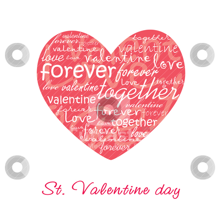 Valentine card illustration stock vector clipart, Valentine card illustration with heart by SelenaMay