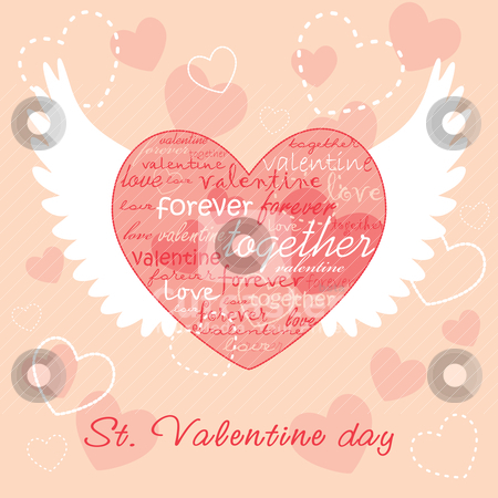 Valentine illustration stock vector clipart, Valentine illustration with heart and wings by SelenaMay