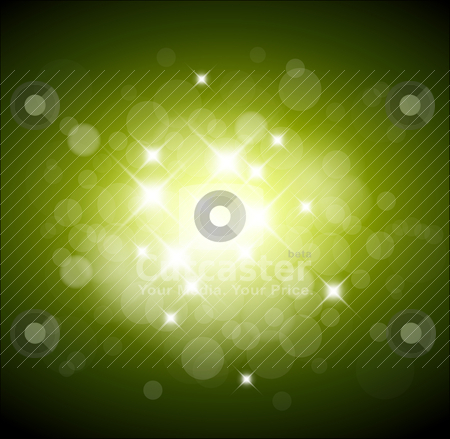 Green background with white lights stock vector clipart, Green background with white lights and place for your text by orson