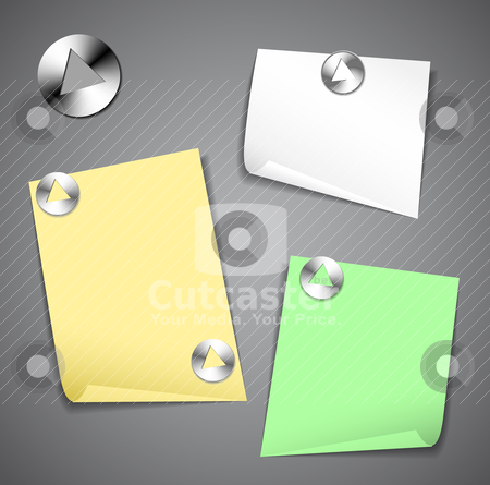 Sticky papers with pushpins stock vector clipart, Sticky papers isolated on dark background with pushpins by orson