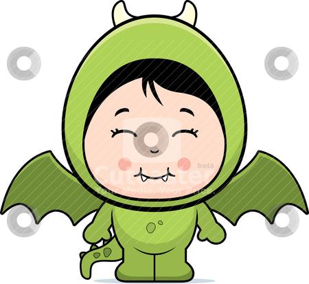 Girl Dragon stock vector clipart, A happy cartoon girl in a dragon costume. by cthoman
