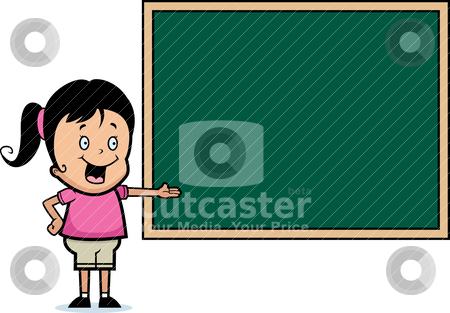Girl Chalkboard stock vector clipart, A happy cartoon girl standing next to a chalkboard. by cthoman