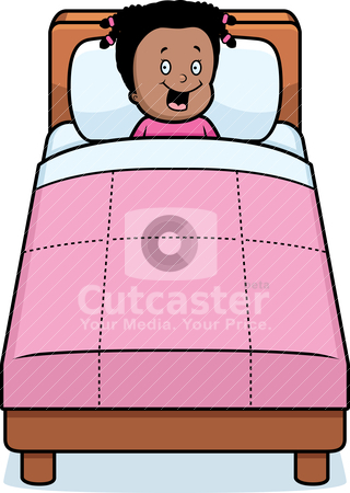 Girl Bedtime stock vector clipart, A happy cartoon girl ready for bedtime. by cthoman