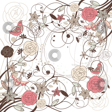 Abstract verctor background card stock vector clipart, abstract verctor background card with flowers and birds by SelenaMay
