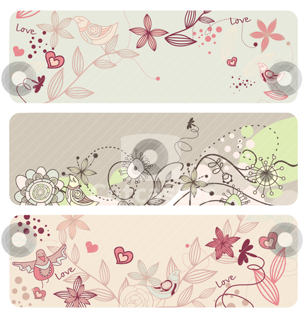 Cute vector floral banners stock vector clipart, cute vector floral banners with funny birds by SelenaMay