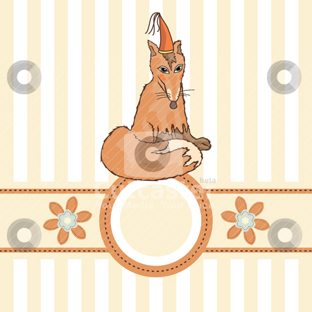 Vector cute baby card stock vector clipart, vector cute baby card with funny fox by SelenaMay