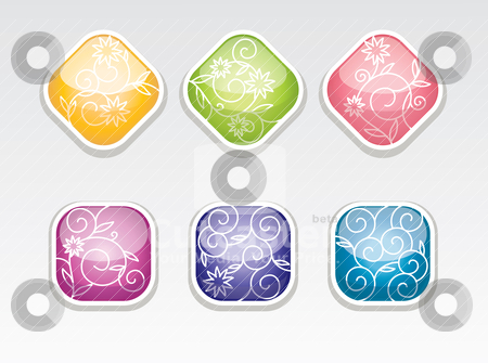 Cute vector glossy buttons stock vector clipart, cute vector glossy buttons with flower pattern by SelenaMay